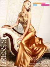 ※人気ドレスが再入荷!!☆Lサイズ追加☆【Luxe Style】ウエストの透け感で女らしいセクシーさも兼ね備えたジュエルボディアート☆サテンロングドレス