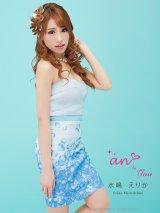 ☆SALE☆【an to you】フェミニンな花びらプリントのベアキャバミニワンピースドレス *S/Mサイズ・ブルーフラワープリント