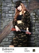 【ハロウィン3点セット】カモフラージュ柄ジャケット&スカート☆アーミーコスプレセット(IN-army)
