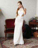 XLサイズあり!!【Luxe Style/リュクススタイル】スパンコール刺繍/ シアーレース/ ノースリーブ/ ロングドレス/ キャバドレス long