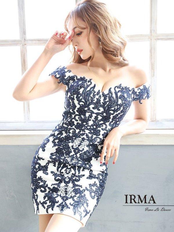 画像2: Lサイズあり【IRMA/イルマ】デザイン刺繍/ オフショル/ タイト/ ミニドレス/ キャバドレス