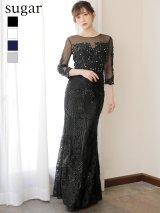 XLサイズあり【Luxe Style/リュクススタイル】ビーズ刺繍 / シアーレース / マーメイド / ロング/キャバドレス long