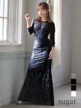 XLサイズあり【Luxe Style/リュクススタイル】ビーズ刺繍 / シアーレース / マーメイド / ロング/ロングドレス /キャバドレス long