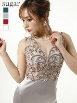 X Lサイズあり【Luxe Style/リュクススタイル】ビーズ刺繍 /シアーレース /サテン /ロング /ロングドレス /キャバドレス long