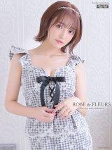 XS〜Lサイズあり!!【ROBE de FLEURS/ローブドフルール】ギンガムチェック/レースアップ/ タイト/ キャバドレス