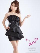 【an ドレス】胸元プリーツに煌やくスパンコールで魅せる♪愛されワンピドレス *Sサイズ・ブラック