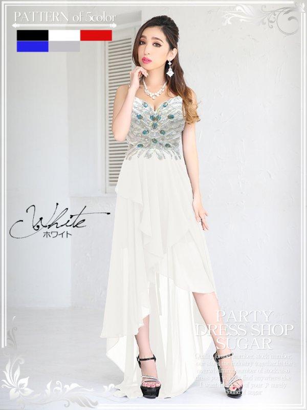 画像2: 【Lipline】美脚アピールで悩殺♪♪優美なシルエットで艶めかしく印象付ける☆☆シフォンショートinロングドレス☆Sサイズ