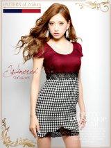 SALE☆サイドレース×チェックツイード切替♪パールネックレス付き★タイトミニワンピキャバドレス♪