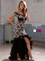 ☆人気の為再入荷☆【Luxe Style/リュクススタイル】個性的なダマスク柄オフショルドレス♪たっぷりオーガンジーのティアードマーメイドショートinロングドレス*Lサイズあり