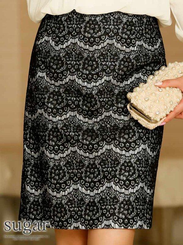 画像4: 【パーティードレス】ロングスリーブ&ハイネックのシフォントップスと上品な総レースで大人の雰囲気抜群♪レーススカートドレス