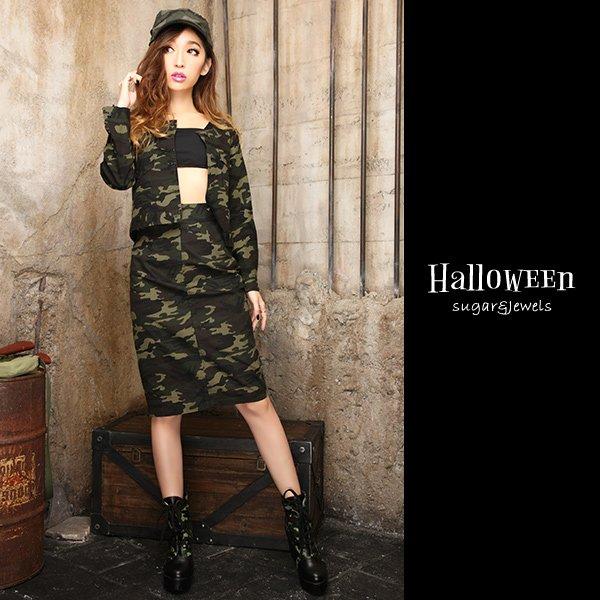 画像2: 【ハロウィン】強気のアーミースタイルで攻めてみて♪カモフラージュ柄ジャケット&スカート☆アーミーコスプレセット[HC02]