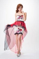 【Alice/アリス】エレガントなローズプリント♪優美になびく巻きスカートで存在感たっぷりの2Wayベアミニキャバドレス♪ホワイトxローズプリント・s1F1611