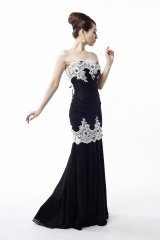 【Luxe Style/リュクススタイル】レース切り替えベアマーメイドロングキャバドレス・s6F1704