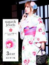 【浴衣3点セット】流水に咲き誇る椿の花模様浴衣セット(Yobi030-WH / Yhimo203)
