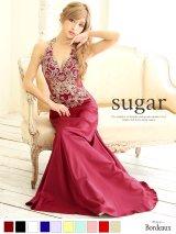 Lサイズあり【Luxe Style】ウエストの透け感で女らしいセクシーさも兼ね備えたジュエルボディアート/サテンロングドレス