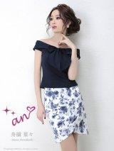 【an】胸元リボン/オフショル/セットアップ/キャバドレス ネイビーxフラワープリント