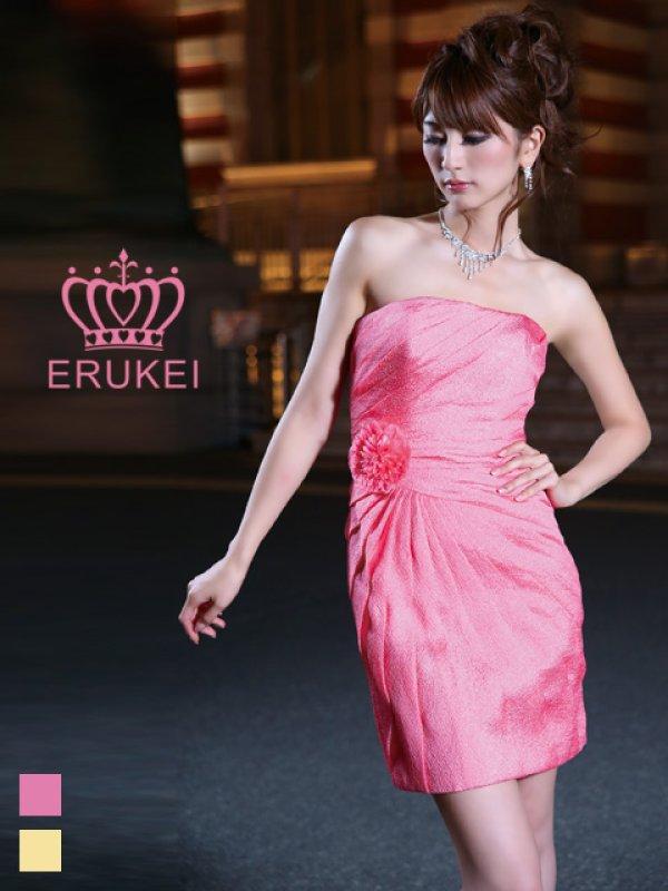 画像1: 【ERUKEI エルケイ】タックデザイン/コサージュ付/ベア/ミニドレス /キャバドレス