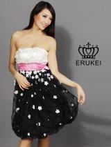 【ERUKEI エルケイ】フラワーデザイン/ハイウエスト切り替え/ベア/キャバドレス