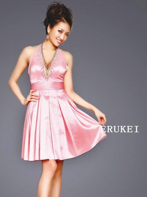 画像1: 【ERUKEI エルケイ】胸元ビジュー/ホルターネック/フレア/ミニドレス /キャバドレス