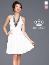 【ERUKEI エルケイ】胸元ビジュー/ホルターネック/フレア/キャバドレス