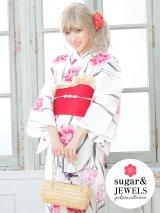 【浴衣3点セット】白地xピンクの花模様浴衣セット(Yobi030BE / Yhimo200 / A068knR)