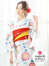 【浴衣3点セット】白地xグラデーション花模様浴衣セット(Yobi030BE / Yhimo200 / A068kn R)