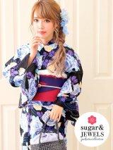 【浴衣3点セット】黒地x薔薇の花模様浴衣セット(Yobi030WH / Yhimo801 / A802knBL)