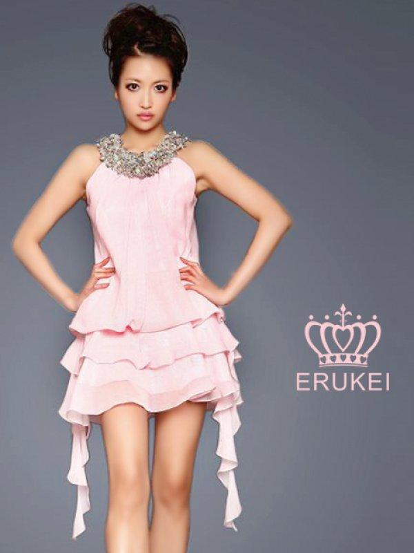 画像1: 【ERUKEI エルケイ】シフォン/フリル/ミニ/ミニドレス /キャバドレス