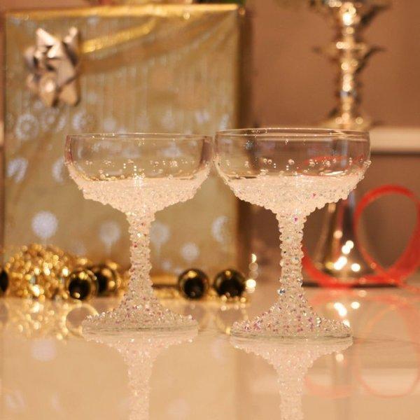画像2: 【雑貨:グラス】キラキラと光るビジューが散りばめられたシャンパングラス【HC02】