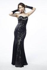 Lサイズあり【Luxe Style/リュクススタイル】スパンコールレース/ベア/マーメイド/ロング/キャバドレス long