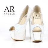 【一部予約商品/4月中旬入荷予定】【Angel R/エンジェルアール】オープントゥ/ラメ/16.5cmヒール/パンプス