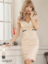 【Rosett/ロゼット】ラメレース/襟デザイン/膝丈/キャバドレス