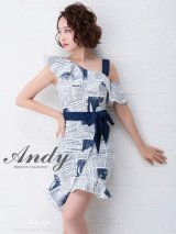 【ANDY/アンディ】ワンショル/ ウエストリボン/ 変形スカート/ タイト/キャバドレス