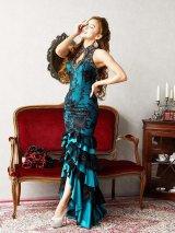 XLサイズあり!!【Luxe Style/リュクススタイル】デザイン刺繍/ ノースリーブ/ テールカット/ ロングドレス/ キャバドレス long