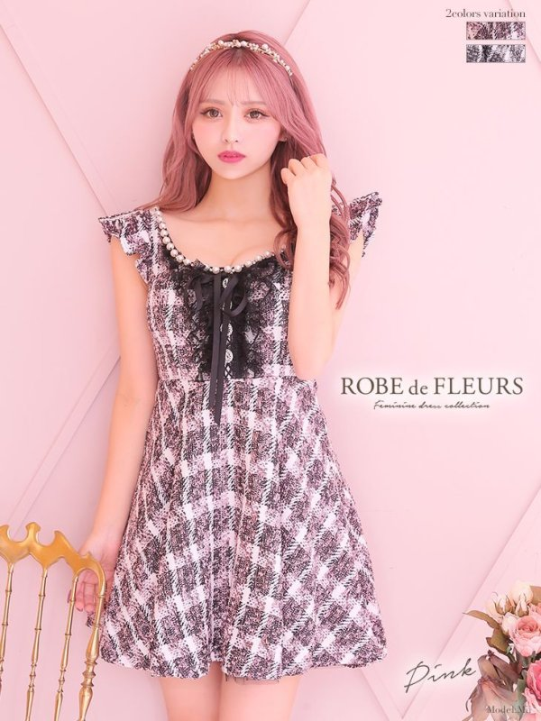 【Lサイズあり】【ROBE de FLEURS/ローブドフルール】チュールレース/ ツイード/フレア/ ミニドレス/ キャバドレス ピンク