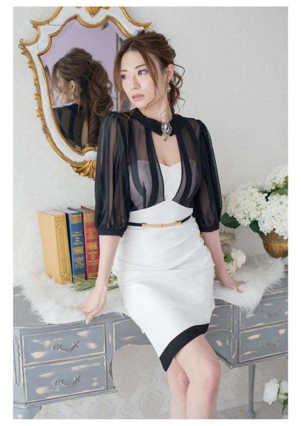 XLサイズあり【Alice/アリス】ブラックシースルー/五分袖/ アシメスカート/ ミニドレス/ キャバドレス/ホワイト