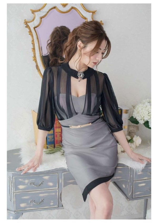 XLサイズあり【Alice/アリス】ブラックシースルー/五分袖/ アシメスカート/ ミニドレス/ キャバドレス/グレー