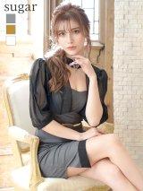 XLサイズあり【Alice/アリス】ブラックシースルー/五分袖/ アシメスカート/ ミニドレス/ キャバドレス