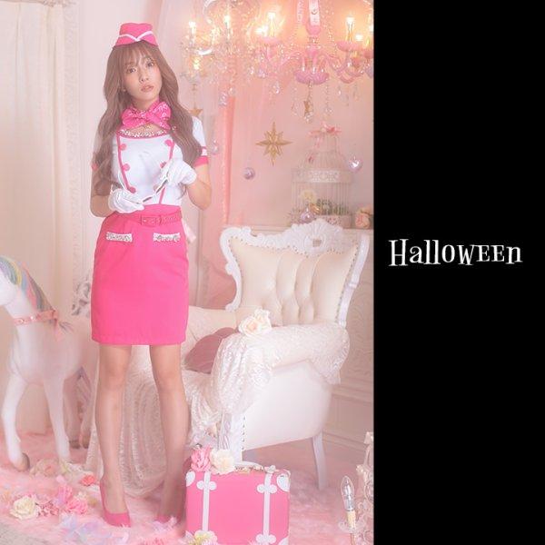 画像2: ピンクCAコスプレセット【ハロウィン5点セット】【S-XLサイズ/1カラー】[HC02]