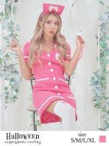 ピンクナースコスプレセット【ハロウィン2点セット】【S〜XLサイズ/1カラー】[HC02]