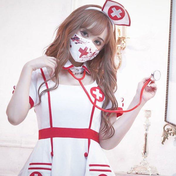 画像3: 血だらけナースマスク【ハロウィン】[OF03]