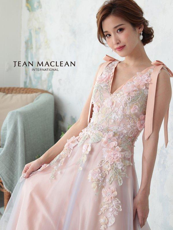 【JEAN MACLEAN/ジャンマクレーン】肩リボン/ 立体フラワー刺繍/ チュール/ プリンセス/ キャバドレスlong/ピンク