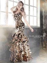 Lサイズあり【JEAN MACLEAN/ジャンマクレーン】スパンコール刺繍/ ベア/ フリルデザイン/ ロング/ キャバドレス long
