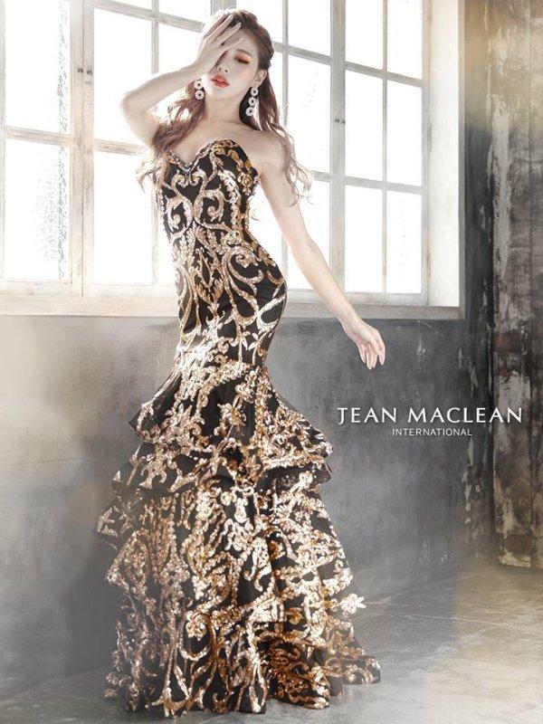 【JEAN MACLEAN/ジャンマクレーン】スパンコール刺繍/ ベア/ フリルデザイン/ ロング/ キャバドレス long/ブラック