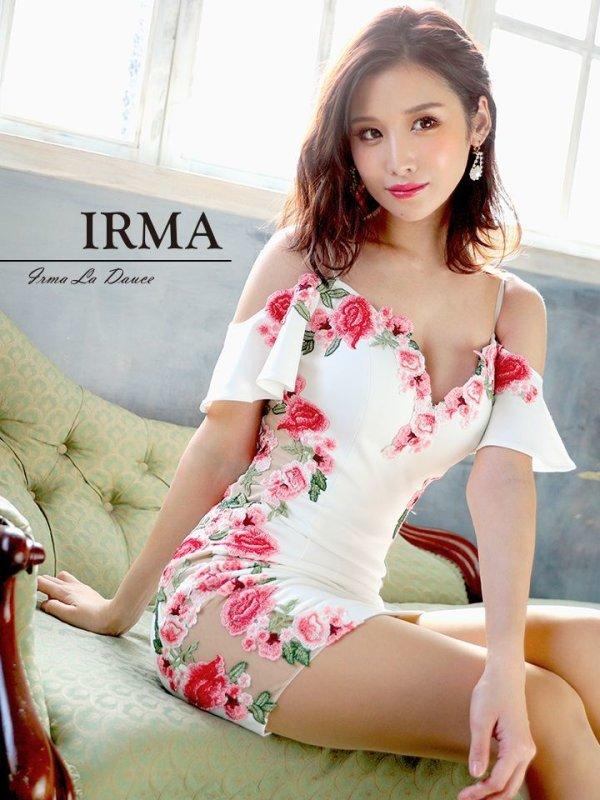 Lサイズあり【IRMA/イルマ】シアーレース / フラワー刺繍/ タイト/ ミニドレス/ホワイト