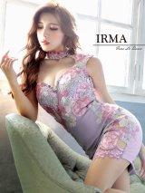 【IRMA/イルマ】フラワー刺繍/チョーカーデザイン風デザイン/ サイドシアー/ タイトミニ/ ミニドレス/ キャバドレス