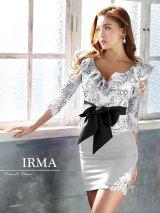 【IRMA/イルマ】フリルデザイン/ フラワーレース/ リボンベルト/ セットアップ/ タイト/ キャバドレス