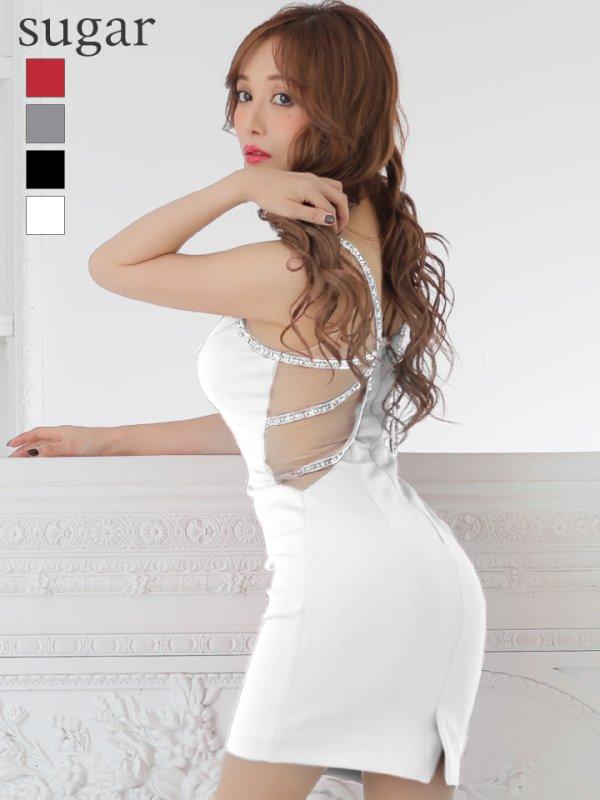 【Jessica/ジェシカ】ワンカラー/シアーレース/ストレッチ/キャバドレス ホワイト