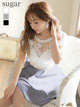【Jessica/ジェシカ】立体フラワー刺繍/ ワンカラー/ オフショル/ フレアミニ/ ミニドレス/ キャバドレス