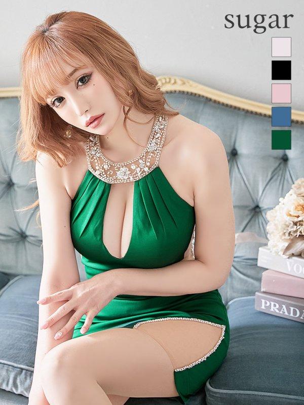 XSサイズあり【Angel R/エンジェルアール】バックビジューライン/ タイト/ ミニドレス / キャバドレス グリーン